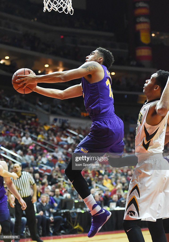 Northern Iowa Panthers guard Juwan McCloud (13) goes up for a layup during an NCAA basketball game between the University of Iowa Hawkeyes and the Northern Iowa Panthers on December 17, 2016, at Wells Fargo Arena, Des Moines, IA.