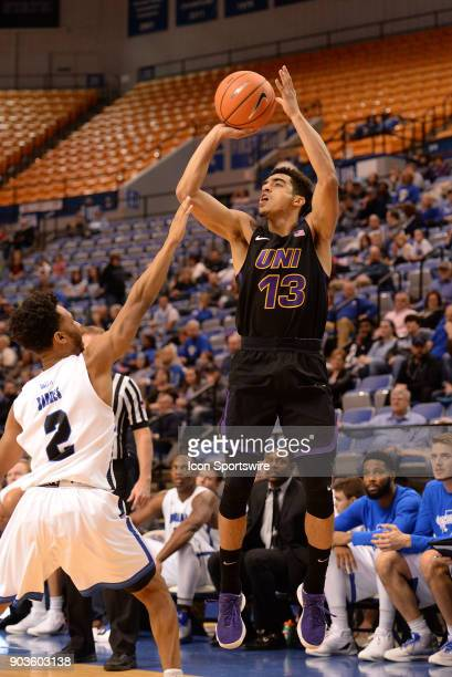 Northern Iowa Panthers Guard Juwan McCloud shoots the ball over Indiana State Sycamores Guard Jordan Barnes during the Missouri Valley Conference...