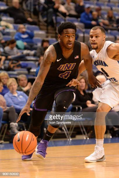 Northern Iowa Panthers Guard Tywhon Pickford dribbles down the base line during the Missouri Valley Coference college basketball game between the...