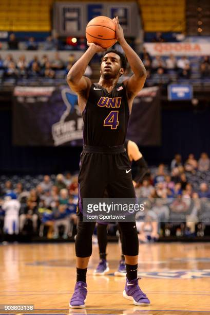 Northern Iowa Panthers Guard Tywhon Pickford shoots a free throw during the Missouri Valley Conference college basketball game between the Northern...