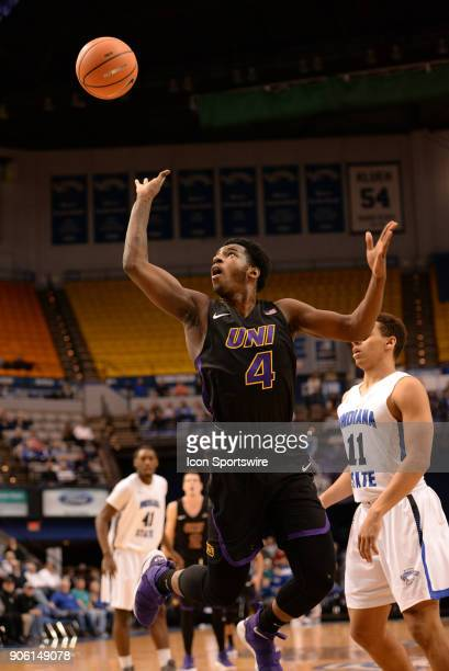 Northern Iowa Panthers Guard Tywhon Pickford throws up an off balance jump shot as he is fouled during the Missouri Valley Coference college...
