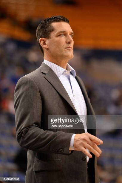Northern Iowa Panthers Head Coach Ben Jacobson looks on during the Missouri Valley Conference college basketball game between the Northern Iowa...