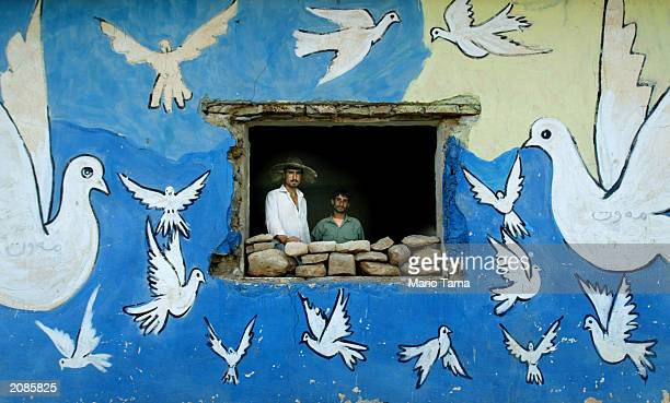 Northern Iraqi Kurds Hendrin Usman and Ubeid Hasen look out a window of their house adorned with doves June 16 2003 in a village near Erbil Iraq The...