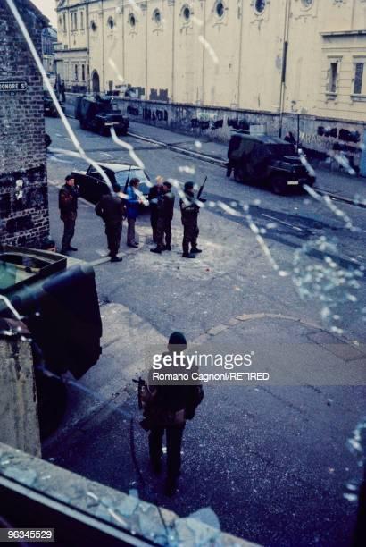 Northern Ireland Belfast the window from which an IRA gunman shot a british soldier