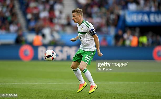 Northern Ireland captain Steven Davis in action during the Round of 16 UEFA Euro 2016 match between Wales and Northern Ireland at Parc des Princes on...