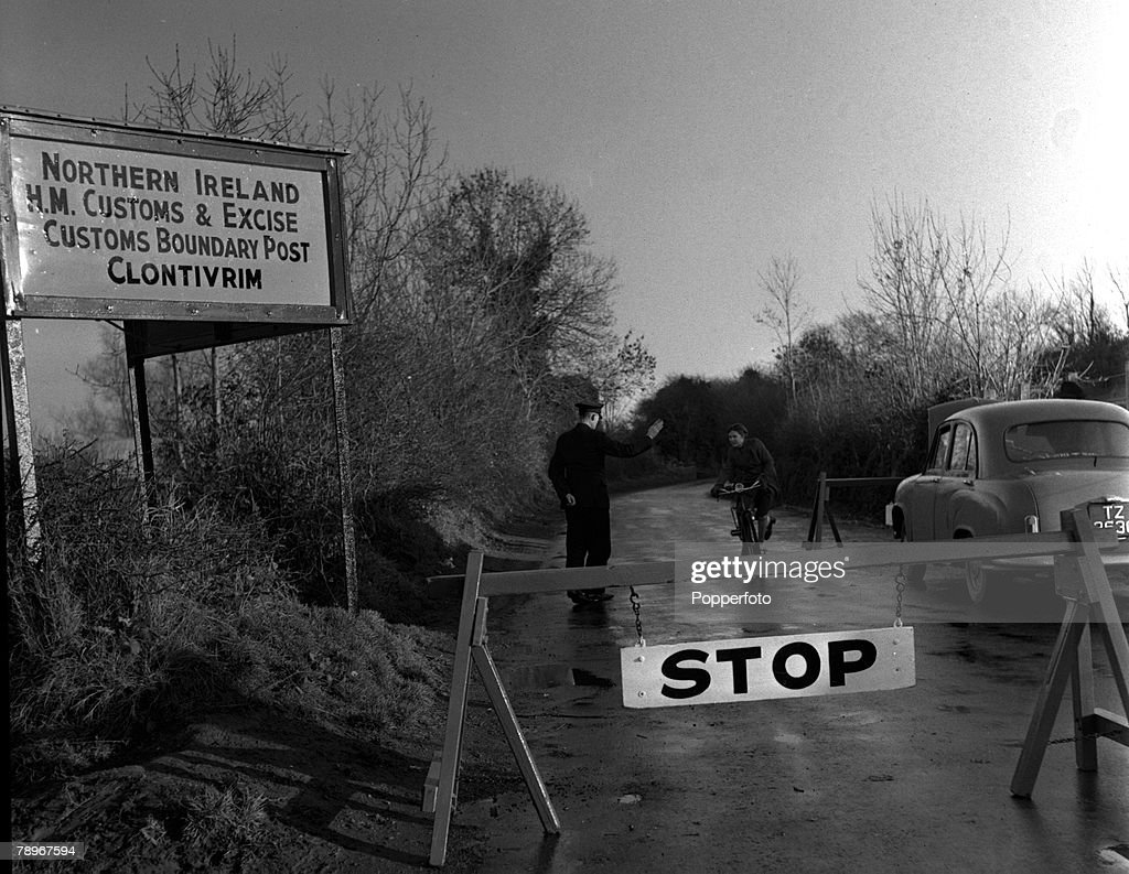 Northern Ireland. December 1955. The customs post at Clontivrim. This is the Ulster side, just down the road is the Eire customs post and the village of Clones. This post was blown up once just before a Royal visit to Ulster in 1938. An Ulster customs off : News Photo