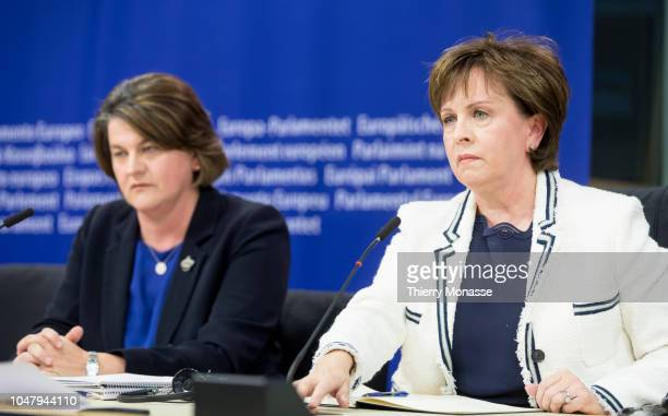 Northern Ireland Democratic Unionist Party leader Arlene Foster and Northern Ireland Member of the European Parliament Diane Dodds talk to...