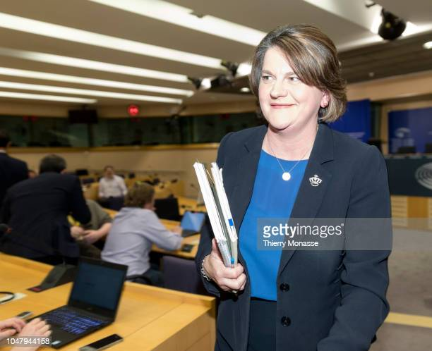 Northern Ireland Democratic Unionist Party leader Arlene Foster talk to journalists during a news conference at in the European Parliament in...