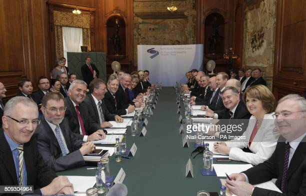 Northern Ireland Deputy First Minister Martin McGuiness , Northern Ireland First Minister Peter Robinson and Taoiseach Enda Kenny join other...