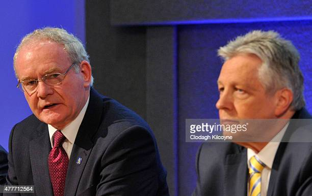 Northern Ireland deputy First Minister Martin McGuinness and First Minister Peter Robinson at the 24th BritishIrish Council Summit at Dublin Castle...