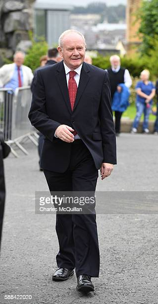 Northern Ireland Deputy First Minister Martin McGuinness arrives for the funeral of the late retired Bishop of Derry Dr Edward Daly as he lies in...