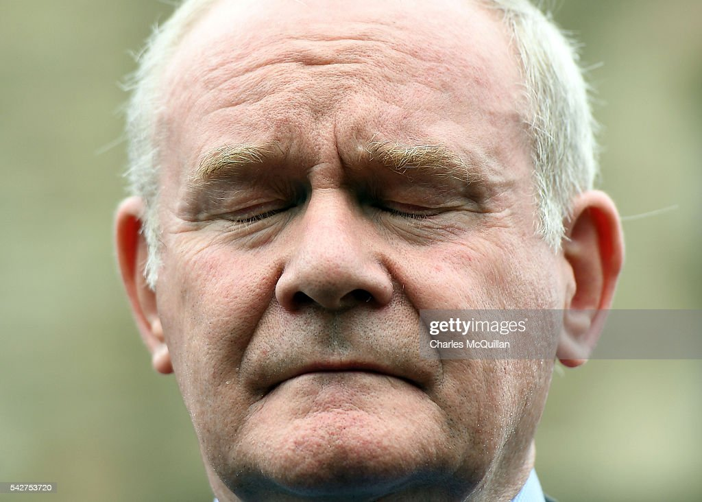 Northern Ireland Deputy First Minister Martin McGuinness pictured as gives his reaction to the EU Referendum vote at a press conference outside Stormont Castle on June 24, 2016 in Belfast, United Kingdom. The result from the historic EU referendum has now been declared and the United Kingdom has voted to LEAVE the European Union.