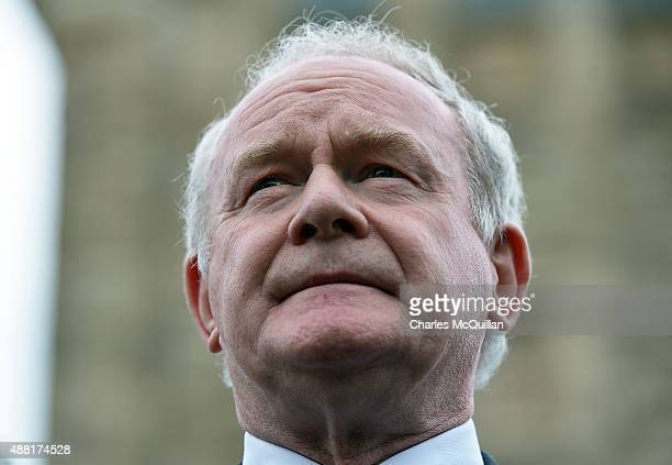 Northern Ireland Deputy First Minister Martin McGuinness speaks at a press conference at Stormont castle on September 14 2015 in Belfast Northern...