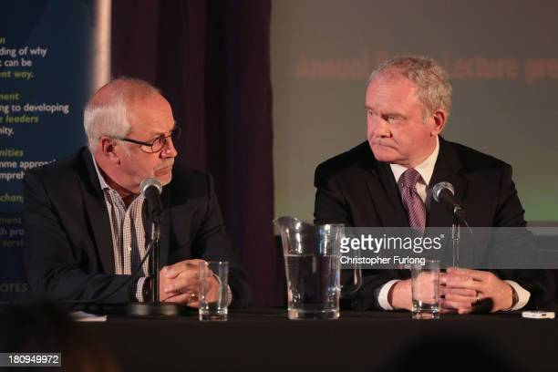 Northern Ireland Deputy First Minister Martin McGuinness takes part in a press conference with Colin Parry chairman of the Tim Parry Johnathan Ball...