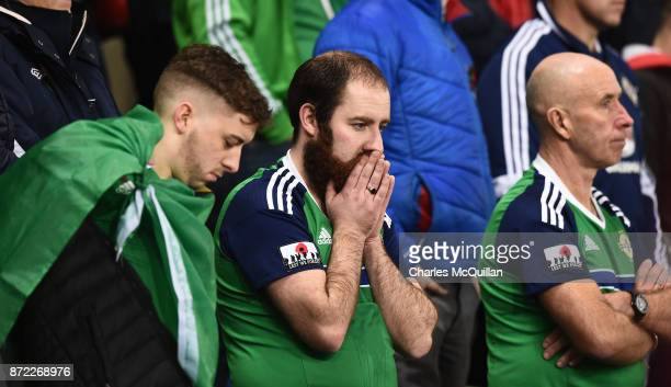 Northern Ireland fan after the FIFA 2018 World Cup Qualifier PlayOff first leg between Northern Ireland and Switzerland at Windsor Park on November 9...