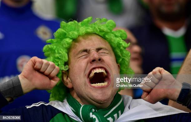 Northern Ireland fan celebrates during the FIFA 2018 World Cup Qualifier between Northern Ireland and Czech Republic at Windsor Park on September 4...