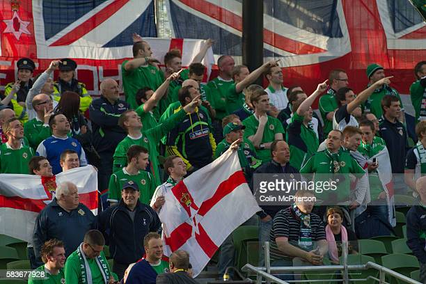 Northern Ireland fans acclaim their team as they take the field at the Aviva Stadium in Dublin before the Republic of Ireland took on Northern...
