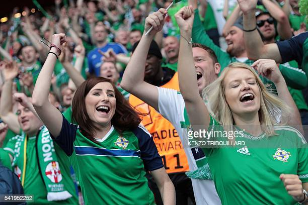 Northern Ireland fans cheer during the Euro 2016 group C football match between Northern Ireland and Germany at the Parc des Princes stadium in Paris...