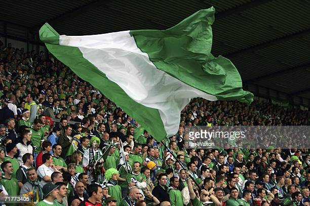 Northern Ireland fans during the Euro2008 Qualifier between Northern Ireland and Iceland at Windsor Park on September 2 2006 in Belfast Northern...
