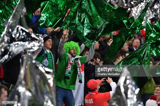 Northern Ireland fans during the FIFA 2018 World Cup Qualifier PlayOff first leg between Northern Ireland and Switzerland at Windsor Park on November...
