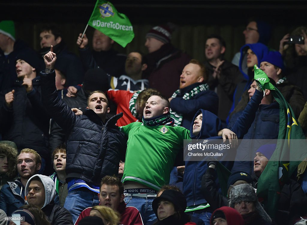 Northern Ireland fans pictured during the international football friendly between Northern Ireland and Latvia at Windsor Park on November 13, 2015 in Belfast, Northern Ireland.