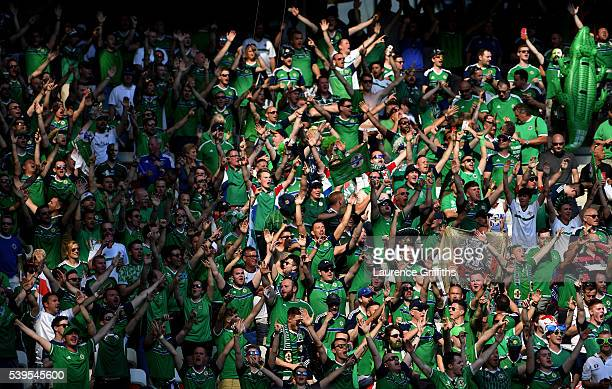 Northern Ireland fans show their support prior to the UEFA EURO 2016 Group C match between Poland and Northern Ireland at Allianz Riviera Stadium on...