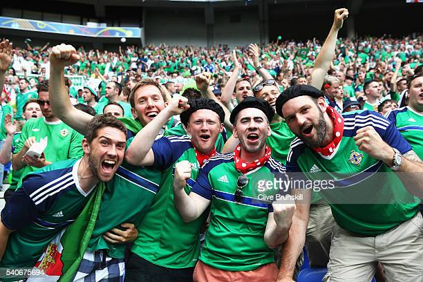 Northern Ireland fans show their support prior to the UEFA EURO 2016 Group C match between Ukraine and Northern Ireland at Stade des Lumieres on June...