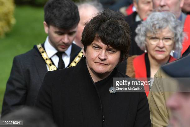 Northern Ireland First Minister Arlene Foster attends the funeral of former Manchester United and Northern Ireland footballer Harry Gregg as it takes...