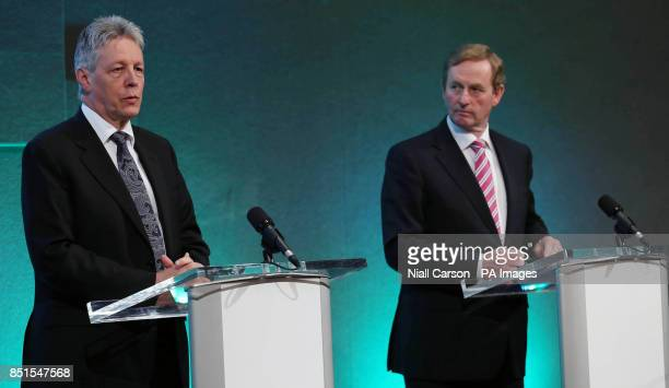 Northern Ireland First Minister Peter Robinson and Taoiseach Enda Kenny speaking at a press conference after the North South Ministerial Council...