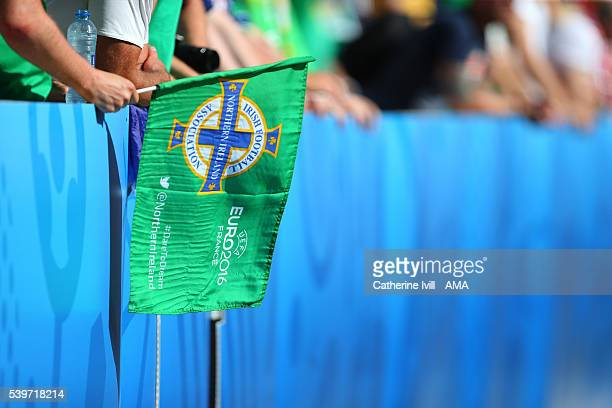 Northern Ireland flag during the UEFA EURO 2016 Group C match between Poland and Northern Ireland at Allianz Riviera Stadium on June 12 2016 in Nice...