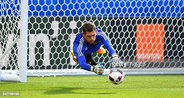 Northern Ireland goalkeeper Michael McGovern in action during Northern Ireland training ahead of their Euro 2016 match against Wales at Parc des...