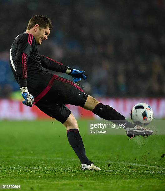 Northern Ireland goalkeeper Michael McGovern in action during the International friendly match between Wales and Northern Ireland at Cardiff City...
