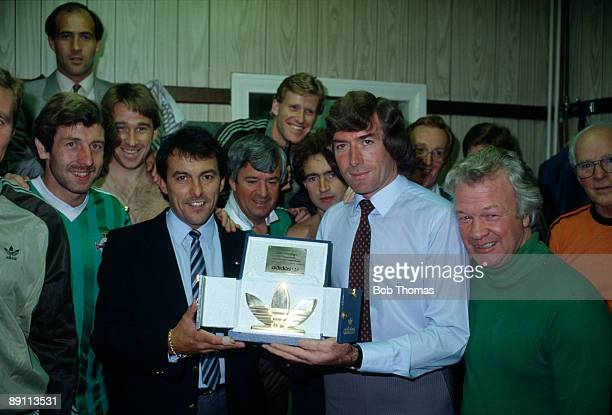 Northern Ireland goalkeeper Pat Jennings receives a special award presented by Colin Wooldridge of Adidas after making his 100th appearance for his...