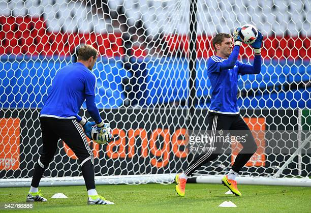 Northern Ireland goalkeepers Michael McGovern and Roy Carroll in action during Northern Ireland training ahead of their Euro 2016 match against Wales...