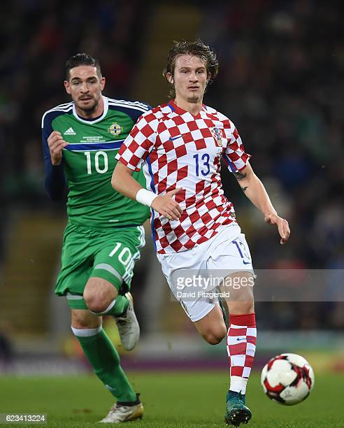 Northern Ireland Ireland 15 November 2016 Tin Jedvaj of Croatia in action against Kyle Lafferty of Northern Ireland during the International Friendly...