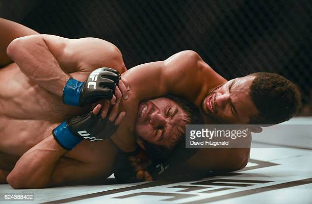 Northern Ireland Ireland 19 November 2016 Kevin Lee right in action against Magomed Mustafaev during their Lightweight bout at UFC Fight Night 99 in...