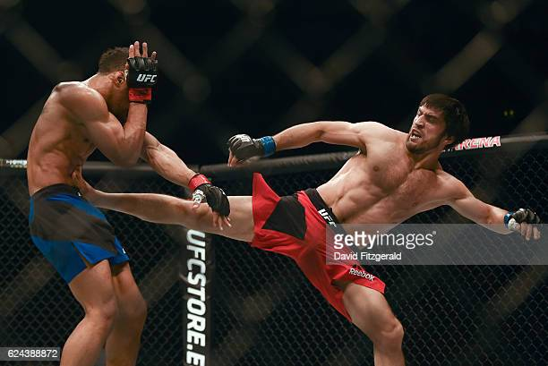 Northern Ireland Ireland 19 November 2016 Magomed Mustafaev right in action against Kevin Lee during their Lightweight bout at UFC Fight Night 99 in...