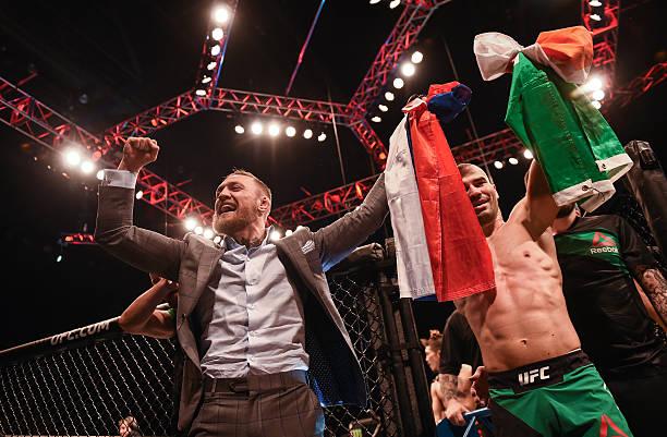 Northern Ireland , Ireland - 19 November 2016; UFC Lightweight and Featherweight champion Conor McGregor celebrates with fellow SBG gym fighter Artem...