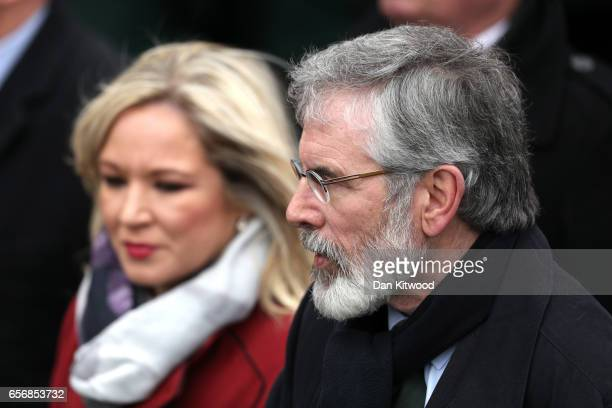 Northern Ireland Leader, Michelle O'Neill and Sinn Fein President Gerry Adams arrive at St Columba's Church on March 23, 2017 in Londonderry,...