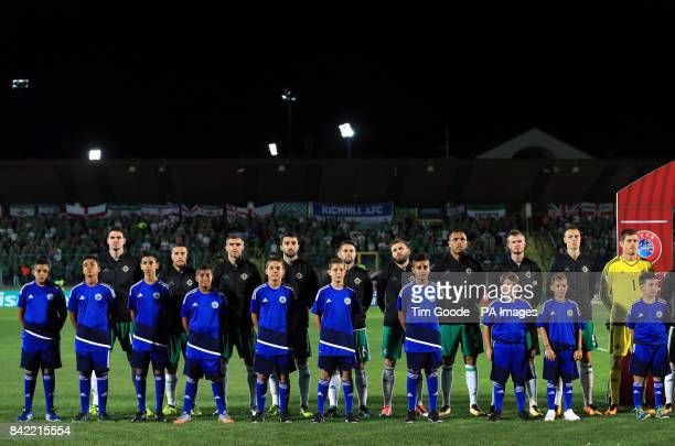 Northern Ireland line up before the game