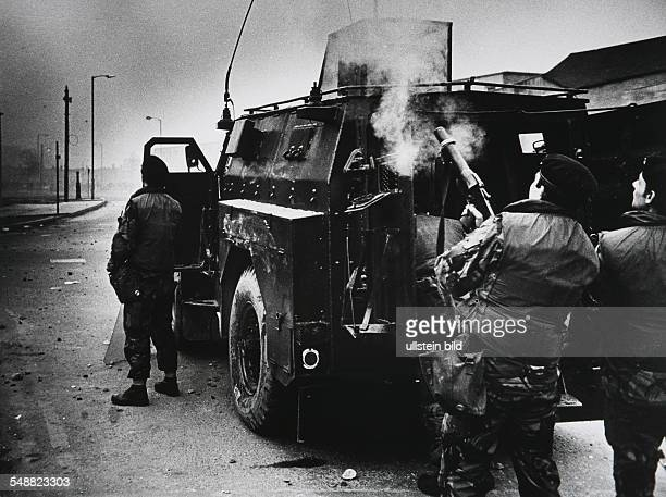 GBR Northern Ireland Londonderry British troops shooting taer gas into the Bogside