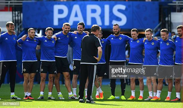 Northern Ireland manager Michael O' Neill addresses his players before Northern Ireland training ahead of their Euro 2016 match against Wales at Parc...