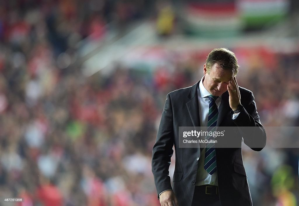Northern Ireland manager Michael O'Neill after the Euro 2016 Group F qualifying match between Northern Ireland and Hungary at Windsor Park on September 7, 2015 in Belfast, Northern Ireland.