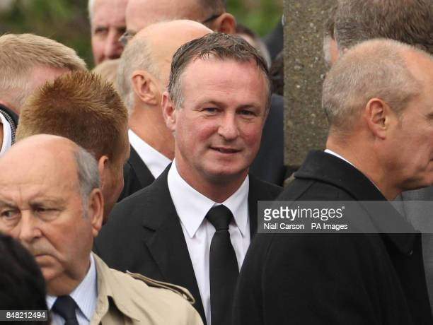 Northern Ireland manager Michael O'Neill attends the funeral of former Northern Ireland and Queens Park Rangers player Alan McDonald at Ballygowan...