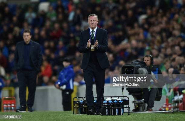 Northern Ireland manager Michael O'Neill claps during the international friendly football match between Northern Ireland and Israel at Windsor Park...