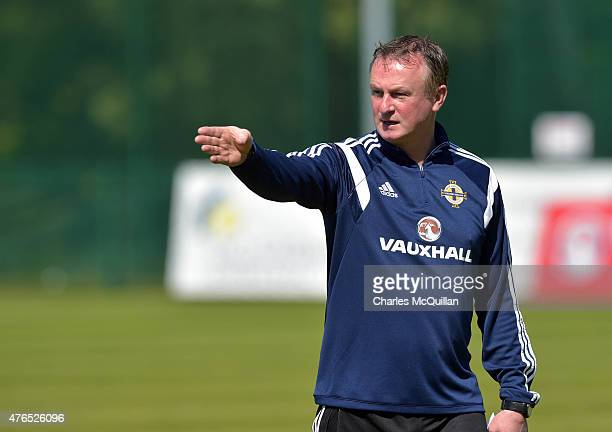 Northern Ireland manager Michael O'Neill during a squad training session at Queens University Sports Ground on June 10 2015 in Belfast Northern...