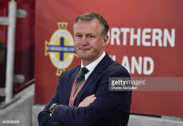 Northern Ireland manager Michael O'Neill during the FIFA 2018 World Cup Qualifier between Northern Ireland and Czech Republic at Windsor Park on...