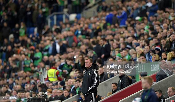 Northern Ireland manager Michael O'Neill during the international friendly between Northern Ireland and Slovenia at Windsor Park on March 28 2016 in...