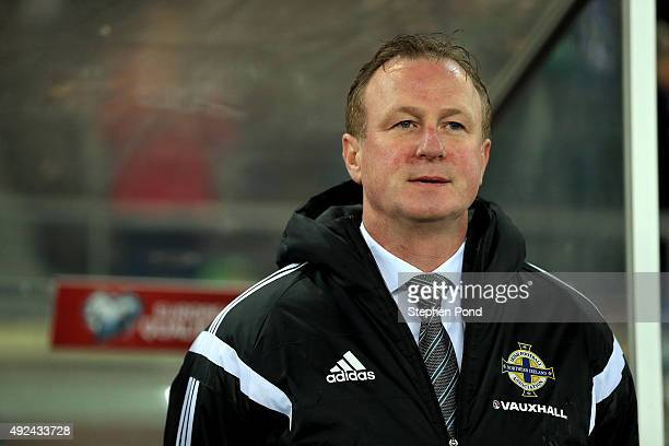 Northern Ireland Manager Michael O'Neill during the UEFA EURO 2016 Qualifying match between Finland and Northern Ireland at the Olympic Stadium on...