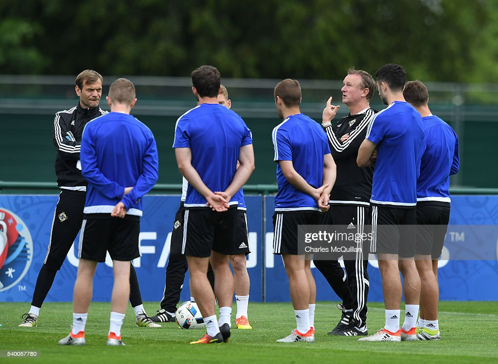 Northern Ireland manager, Michael O'Neill pictured talking to his squad at this mornings Northern Ireland team training session at their training camp on June 14, 2016 in Lyon, France.